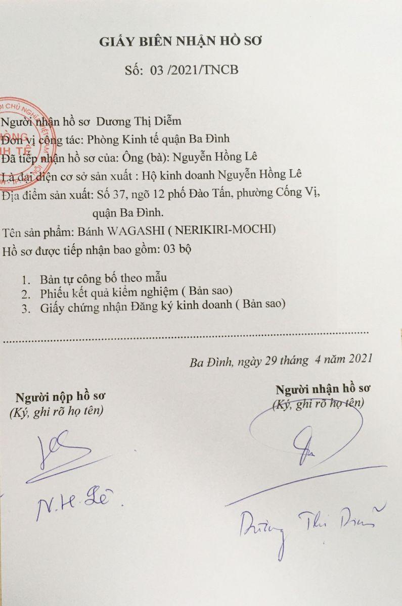 giấy biên nhận hồ sơ hana